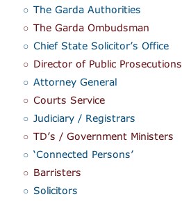 The Garda Authorities The Garda Ombudsman Chief State Solicitor's Office Director of Public Prosecutions Attorney General Courts Service Judiciary / Registrars TD's / Government Ministers 'Connected Persons' Barristers Solicitors
